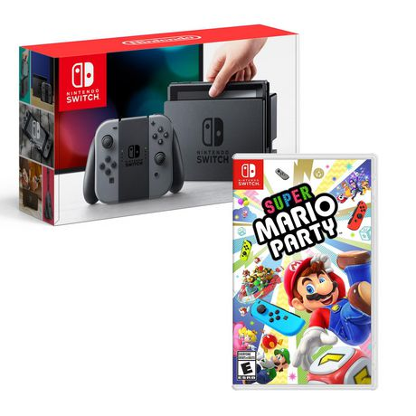 Nintendo Switch Grey Console with Super Mario Party Bundle - image 1 of 1