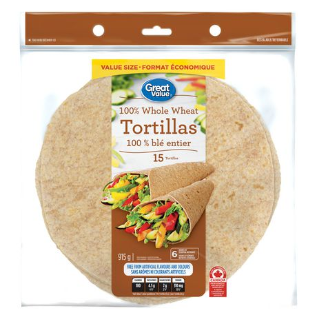 Great Value™ 100% Whole Wheat Tortillas - image 1 of 2