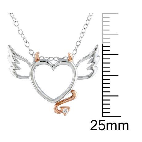 Pendentif en cœur-diable Miabella avec accents de diamant en argent sterling, 18 po - image 2 de 2