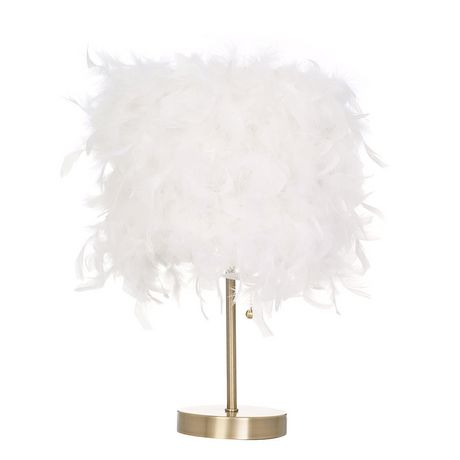 hometrends Feather Shade Table Lamp with Antique Brass Bas - image 2 of 3