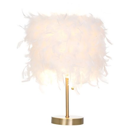 hometrends Feather Shade Table Lamp with Antique Brass Bas - image 3 of 3