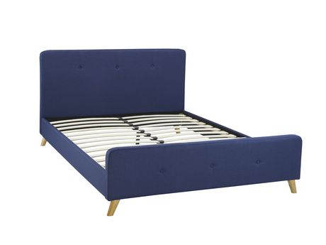 Brassex Inc Tufted Queen Platform Bed Frame Blue