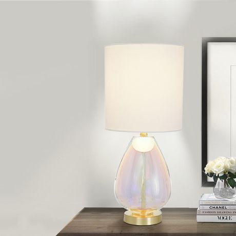 hometrends Iridescent Glass Table Lamp with Brushed Brass Metal Accents And White Shade - image 1 of 4