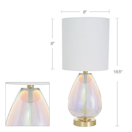 hometrends Iridescent Glass Table Lamp with Brushed Brass Metal Accents And White Shade - image 2 of 4