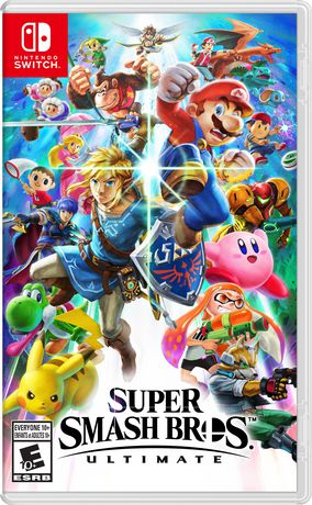 The video game Super Smash Bros for Nintendo Switch featuring all the characters on the cover