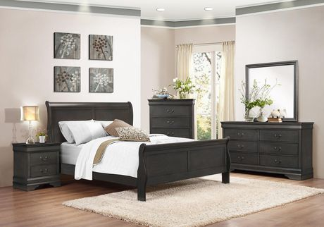 e255d85b8a29f Topline Home Furnishings Louis Philippe 8 pc Grey Bedroom Set - image 1 of  2 ...