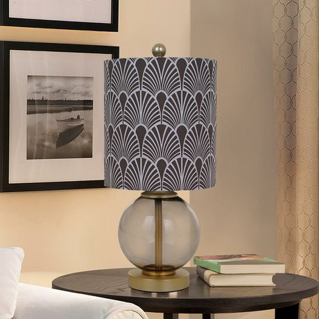 hometrends Smoked Glass Table Lamp with Gray Pattern Shade - image 1 of 2