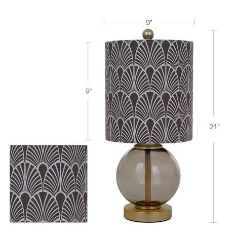 hometrends Smoked Glass Table Lamp with Gray Pattern Shade - image 2 of 2