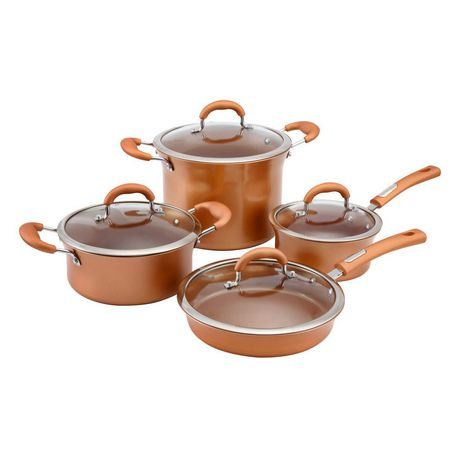 8-piece copper cookware set with glass lids from Hamilton Beach