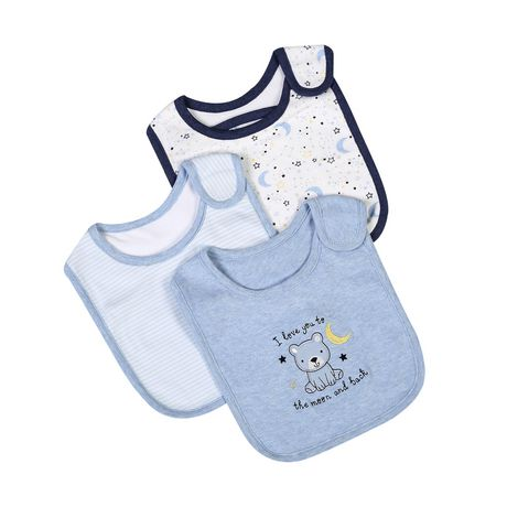 George baby Boys' Cotton Bibs, 3-Pack - image 1 of 2