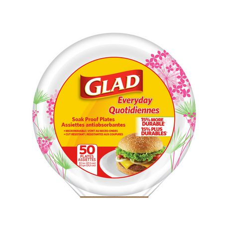 Glad Soak Proof Round Disposable Paper Plates - image 1 of 1