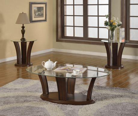 Brassex Inc Ambrose 3 Piece Coffee Table Set Dark Cherry Walmart