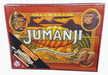 Red box containing board game based on the Jumanji movie