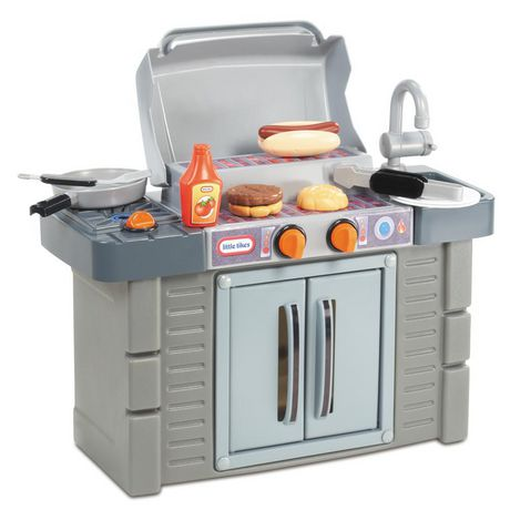 Grey plastic BBQ grill with toy food and accessories made by Little Tikes