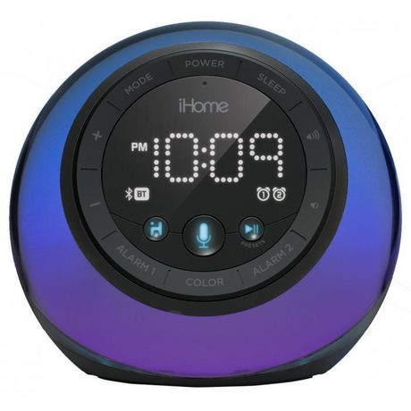 Circular black alarm clock with colour changing face and digital time display