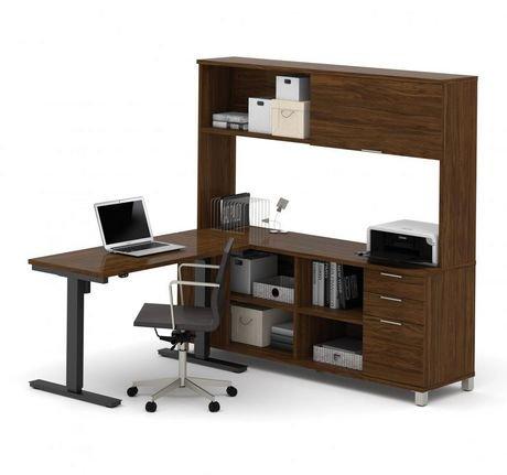 Bestar Pro Linea Height Adjustable L Desk With Hutch
