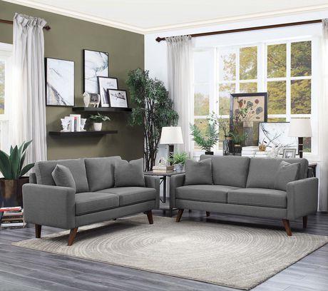 Topline Home Furnishings Grey Fabric Loveseat - image 2 of 2