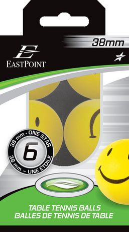 38 mm 1 Star Smiley Table Tennis Balls - 6's - image 2 of 2