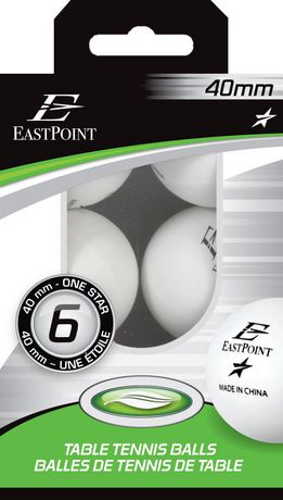 40 mm 1 Star White Table Tennis Balls - 6's - image 2 of 2