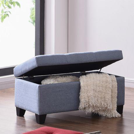 Surprising Linen Look Fabric Storage Ottoman In Light Blue Short Links Chair Design For Home Short Linksinfo
