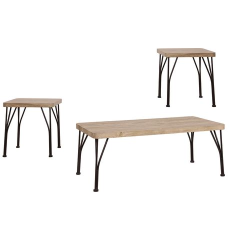 Amazing 3 Piece Industrial Coffee End Table Set Walmart Canada Beutiful Home Inspiration Xortanetmahrainfo