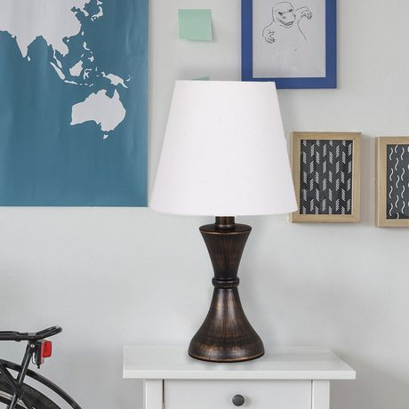 hometrends Metal Bronze Accent Lamp with White Shade - image 1 of 3