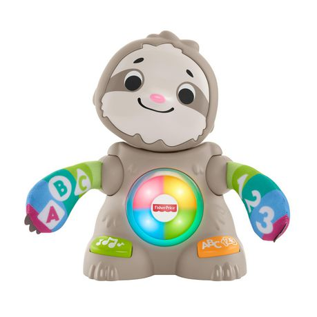 Grey plastic sloth toy from Fisher-Price with multi-coloured arms and buttons