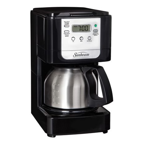 sunbeam 5 cup programmable coffeemaker with stainless steel carafe. Black Bedroom Furniture Sets. Home Design Ideas