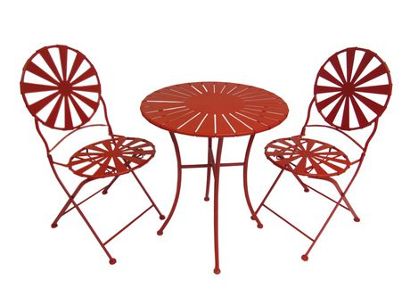 Henryka 3-Piece Bistro Set - Red Sun Ray Design | Walmart Canada
