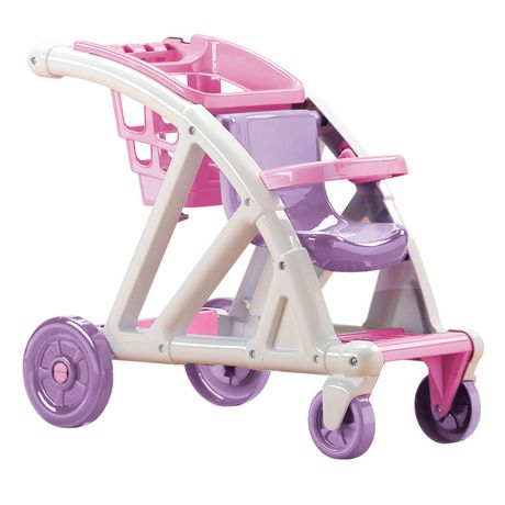 White, pink and purple plastic kids stroller from American Plastic Toys