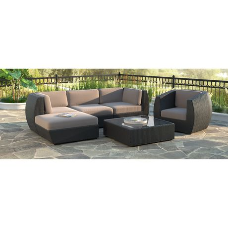 Corliving Pps 605 Z Seattle Curved Sofa With Chaise Lounge