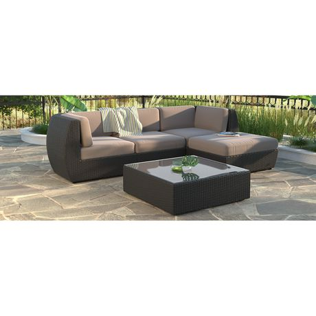 Corliving Pps 604 Z Seattle Curved Sofa With Chaise Lounge