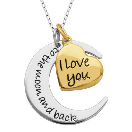 Paj sterling silver and gold plated i love you to the moon and back paj sterling silver and gold plated i love you to the moon and back pendant walmart canada mozeypictures Images