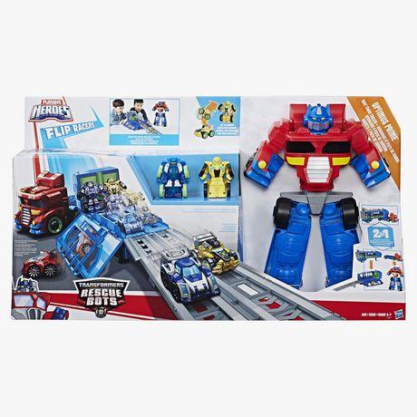Playskool Heroes Transformers Rescue Bots Flip Racers - Optimus Prime Remorque et piste de course - image 1 de 4