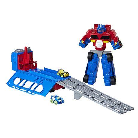 Playskool Heroes Transformers Rescue Bots Flip Racers - Optimus Prime Remorque et piste de course - image 2 de 4