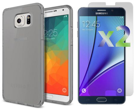 Exian Galaxy Note 5 Screen Protectors X 2 and TPU Transparent Grey - image 1 of 1