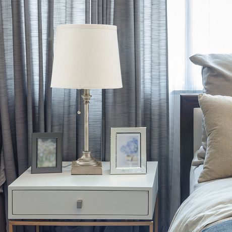 hometrends Pewter Table Lamp with Off-White Shade - image 1 of 3