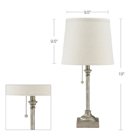hometrends Pewter Table Lamp with Off-White Shade - image 2 of 3
