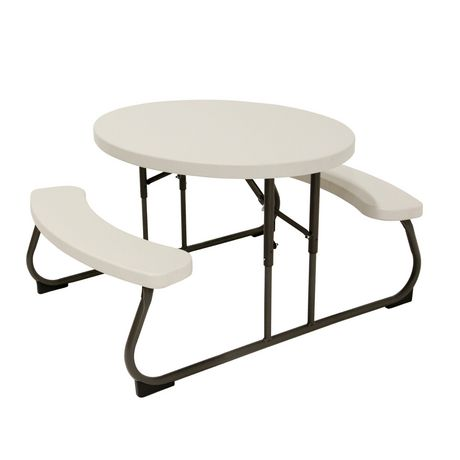 Oval Picnic Table Almond, Lifetime Round Picnic Table