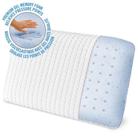 Oreiller de lit en mousse viscoélastique HoMedics à triple fraîcheur avec gel - image 1 de 3