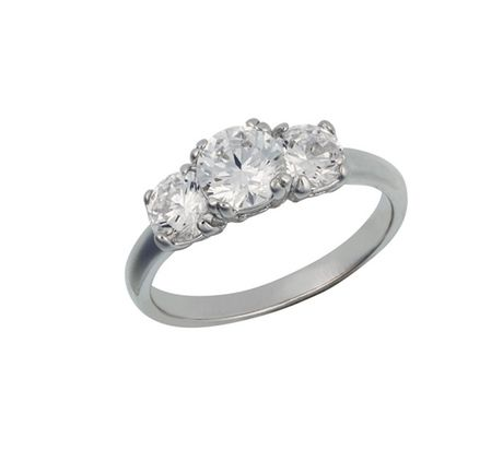 Sterling Silver 3 Stone 4/5mm Clear Cubic Zirconia Ring - Size 8 - image 1 of 2