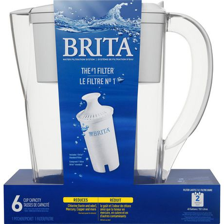 Brita Space Saver Water Filter Pitcher with 1 Standard Filter, White, 6 Cup - image 2 of 9