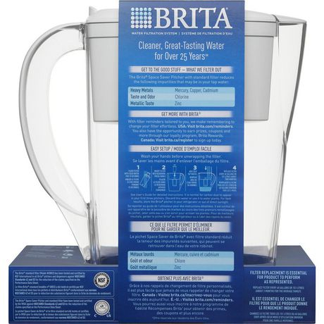 Brita Space Saver Water Filter Pitcher with 1 Standard Filter, White, 6 Cup - image 3 of 9