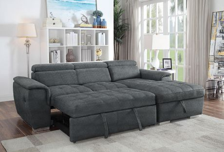 Bentley Sectional With Pull Out Bed Amp Storage Chaise Grey