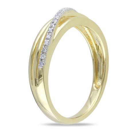 Bague anniversaire Miabella avec diamant en argent massif plaqué rhodium jaune - image 2 de 4