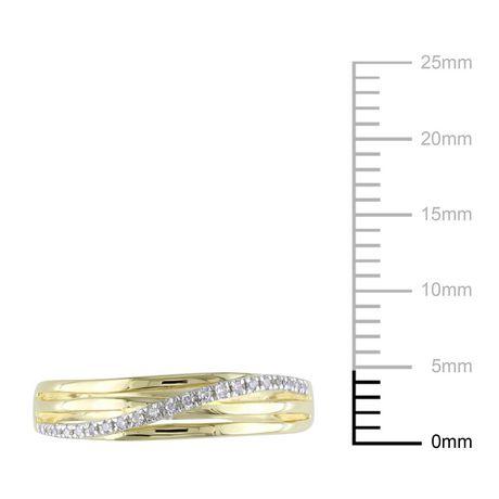 Bague anniversaire Miabella avec diamant en argent massif plaqué rhodium jaune - image 3 de 4