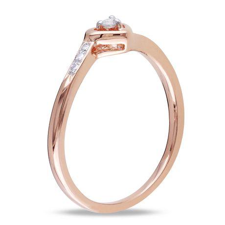 Bague de fiançailles Miabella en forme de cœur avec diamant en argent massif plaqué rhodium rose - image 2 de 4