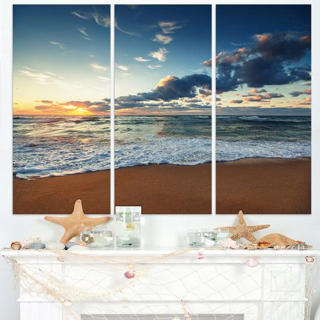 tableau mural toile design art bord de mer aube et vagues rayonnantes walmart canada. Black Bedroom Furniture Sets. Home Design Ideas