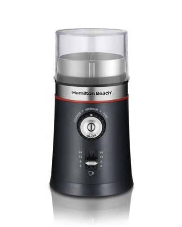 Black and silver coffee grinder with removable clear plastic chamber, made by Hamilton Beach
