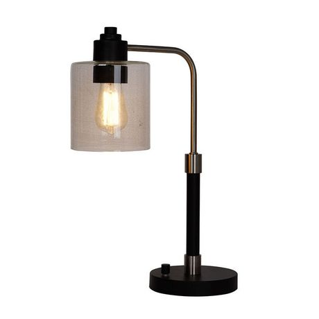 hometrends Black down Bridge Table Lamp with Brushed Steel Accents And Glass Shade - image 1 of 3